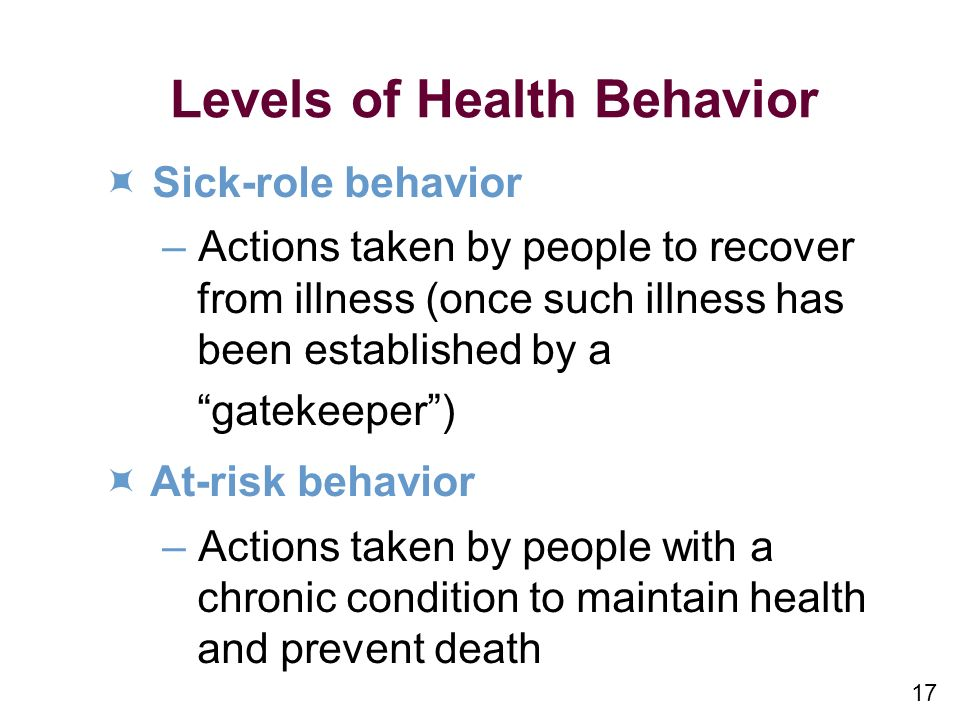 Levels of Health Behavior