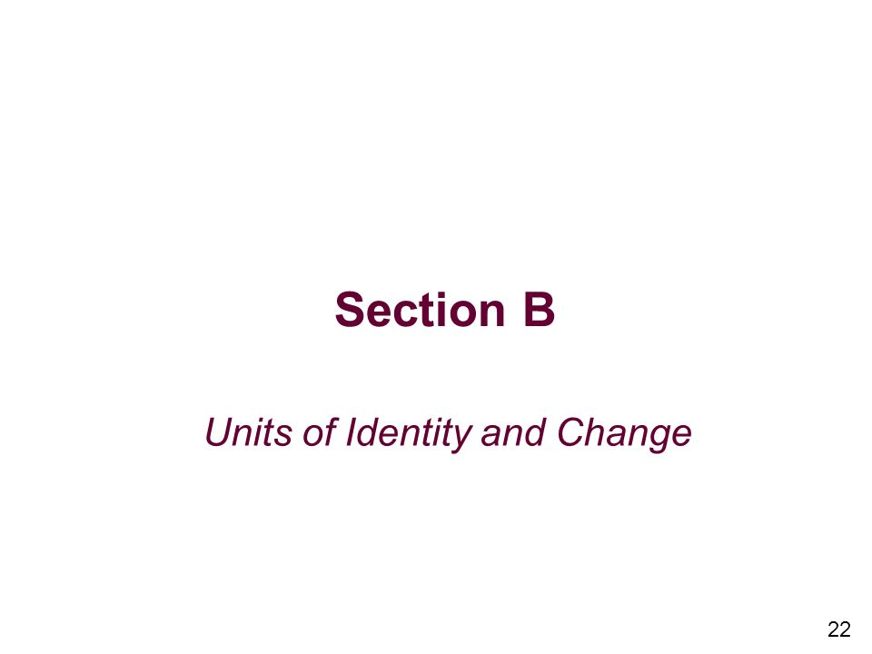 Section B Units of Identity and Change 22