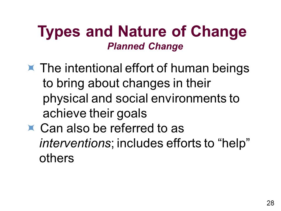 Types and Nature of Change