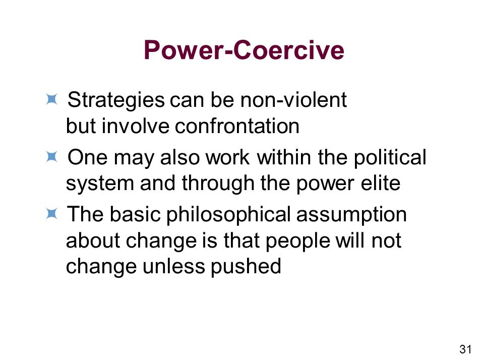 Power-Coercive  Strategies can be non-violent