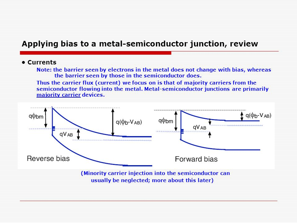 Applying bias to a metal-semiconductor junction, review