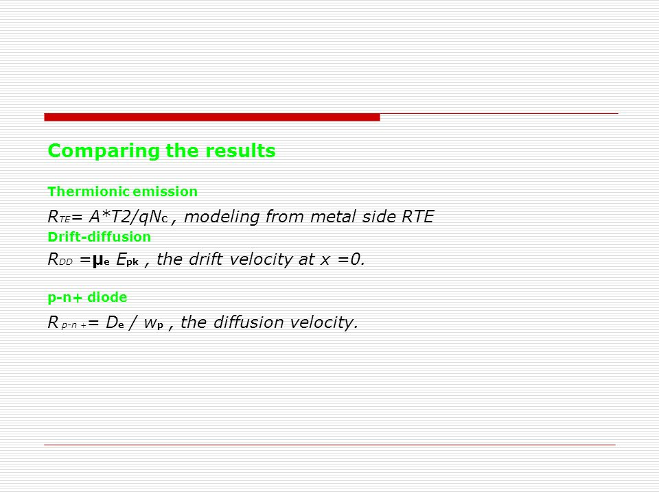 Comparing the results RTE= A*T2/qNC , modeling from metal side RTE