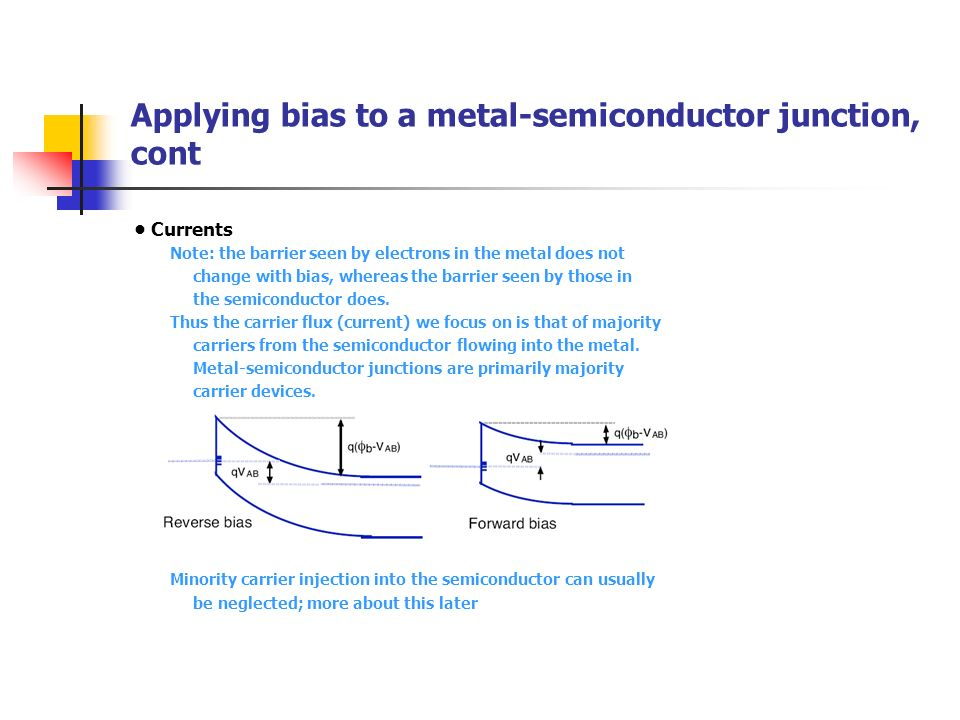 Applying bias to a metal-semiconductor junction, cont