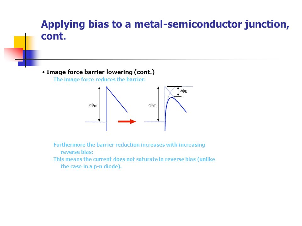 Applying bias to a metal-semiconductor junction, cont.