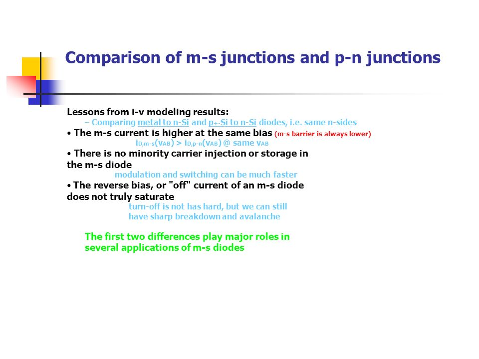 Comparison of m-s junctions and p-n junctions