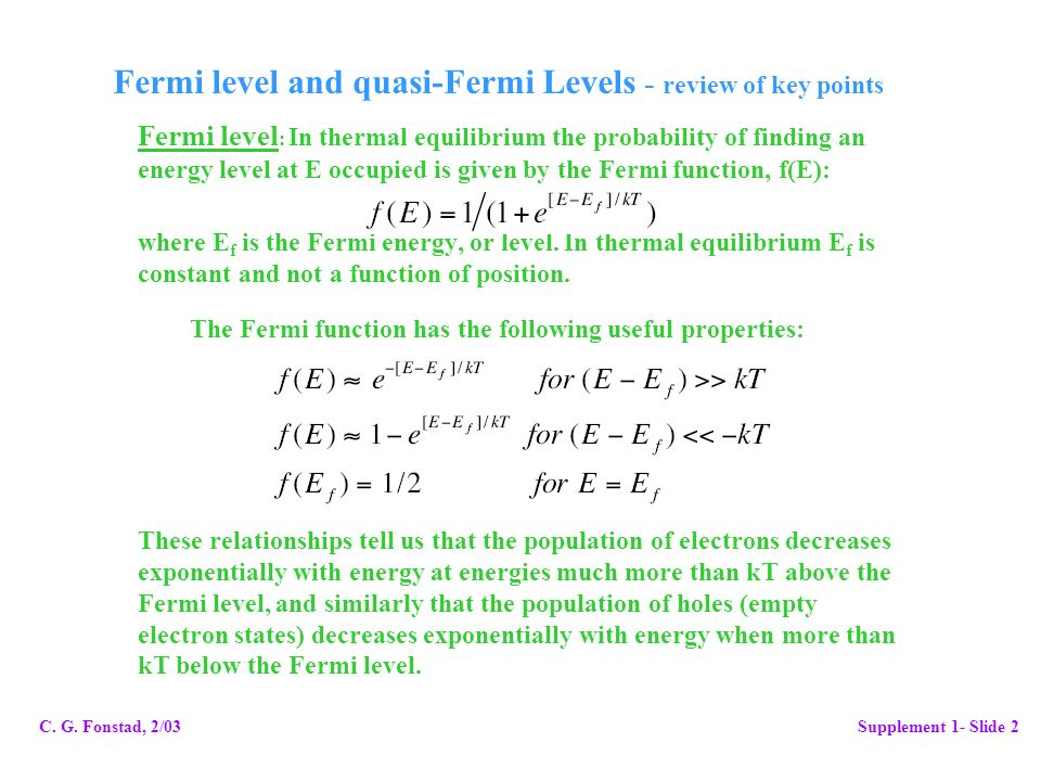 Fermi level and quasi-Fermi Levels - review of key points