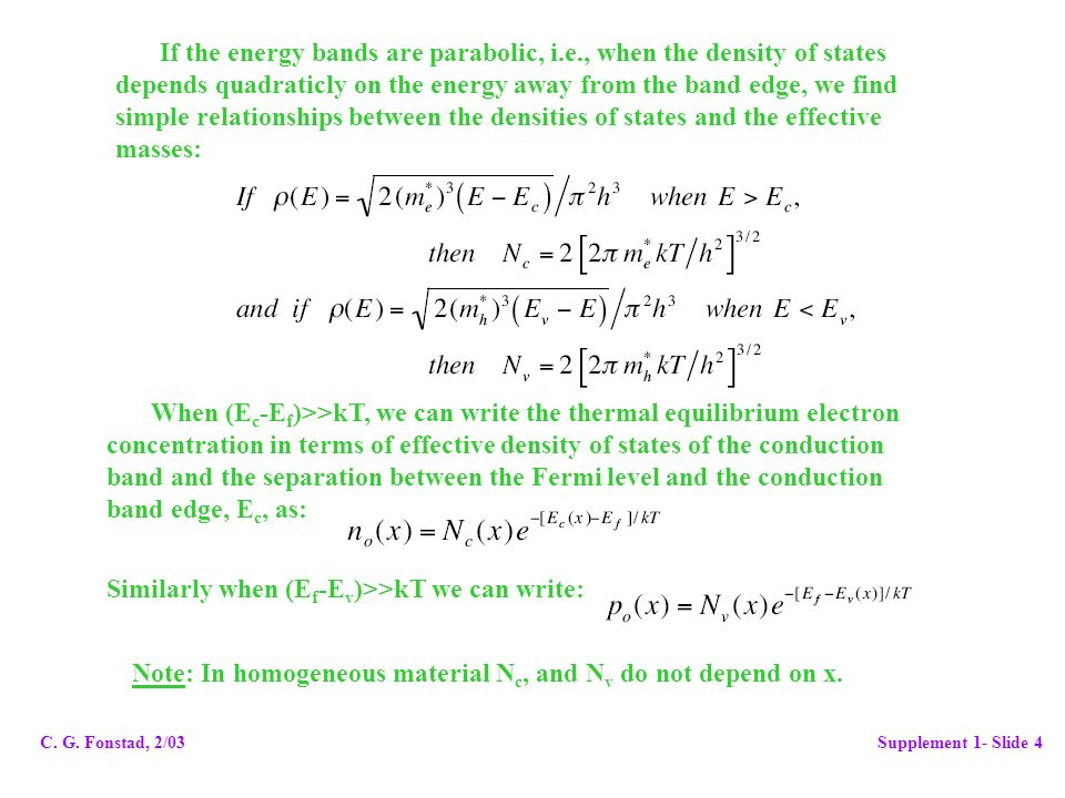 If the energy bands are parabolic, i.e., when the density of states
