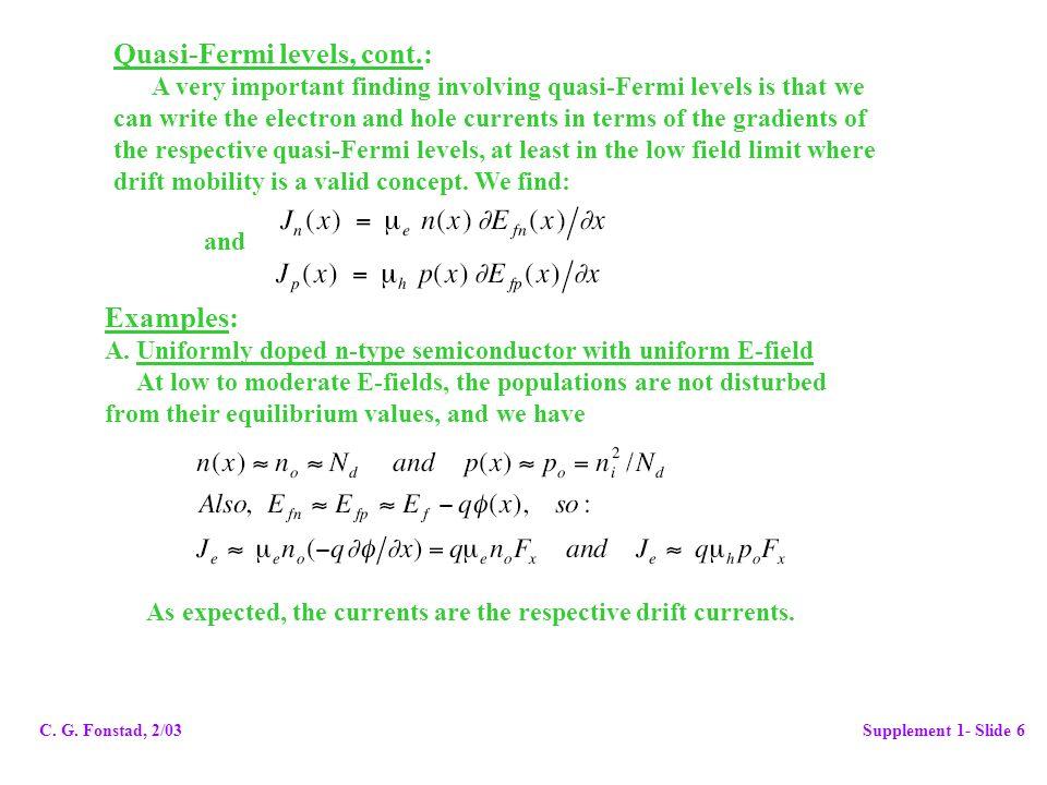 Quasi-Fermi levels, cont.: