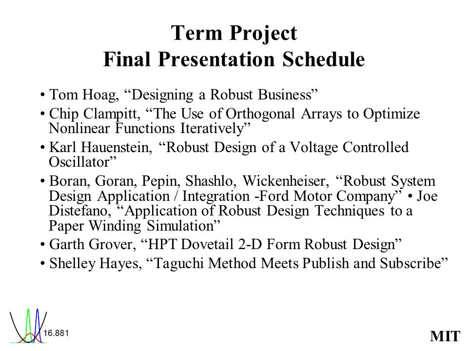 Term Project Final Presentation Schedule