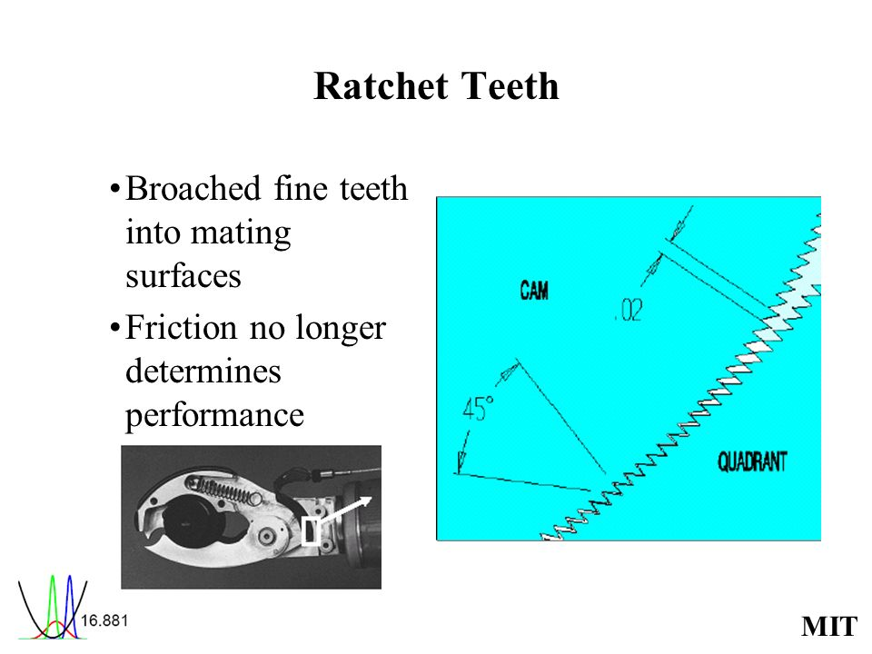 Ratchet Teeth Broached fine teeth into mating surfaces