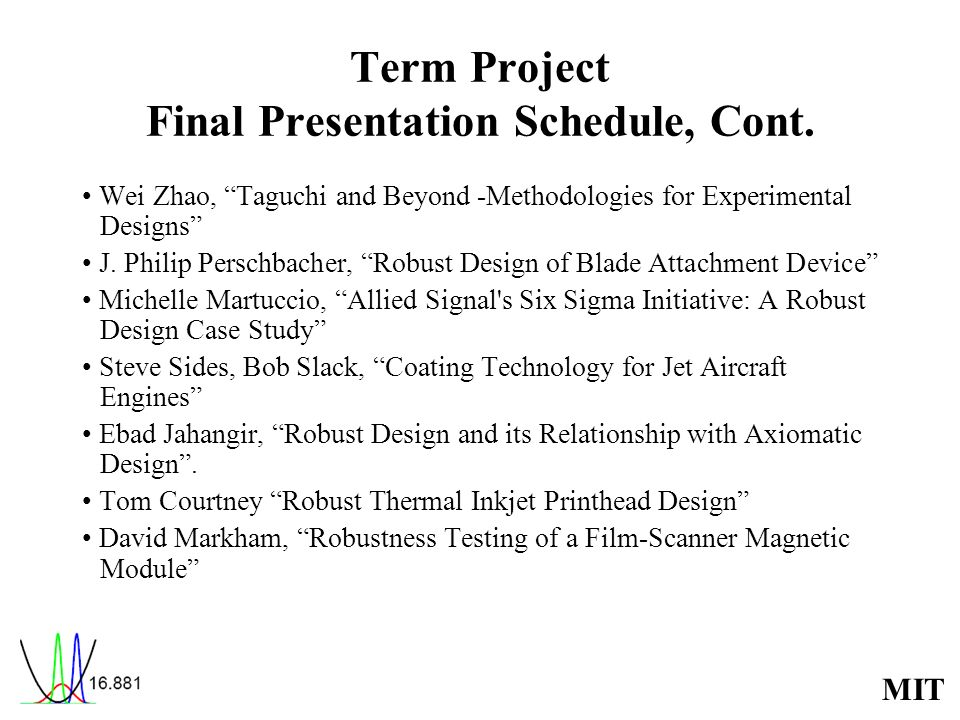 Term Project Final Presentation Schedule, Cont.