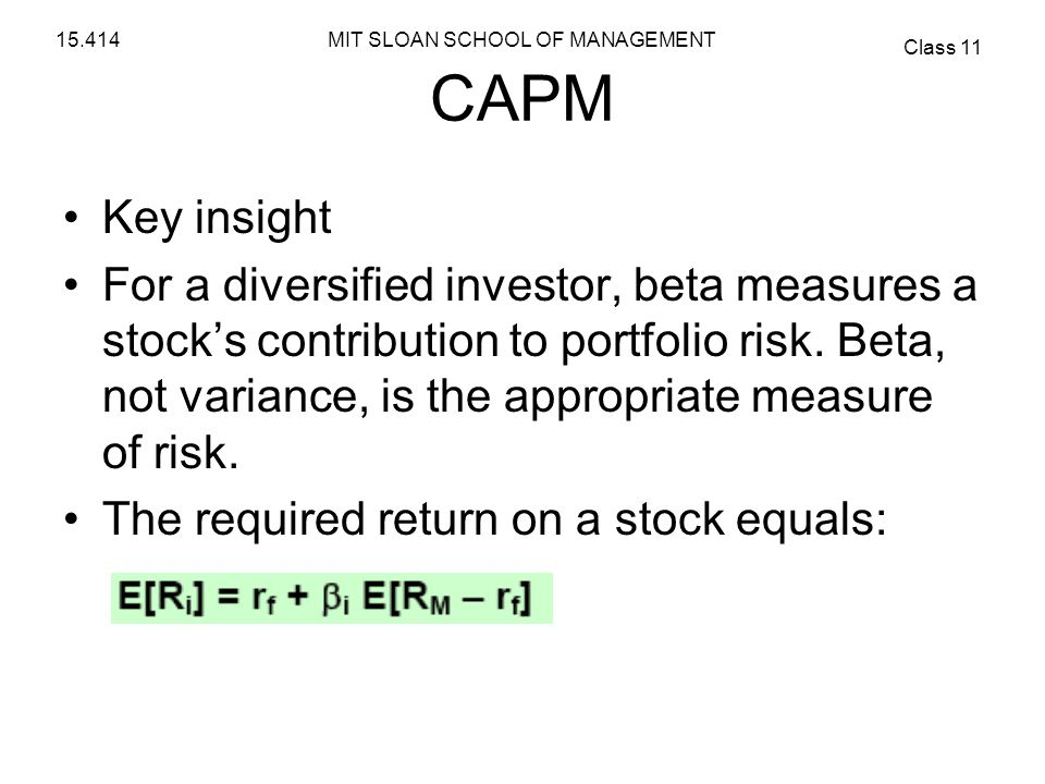 CAPM Key insight.