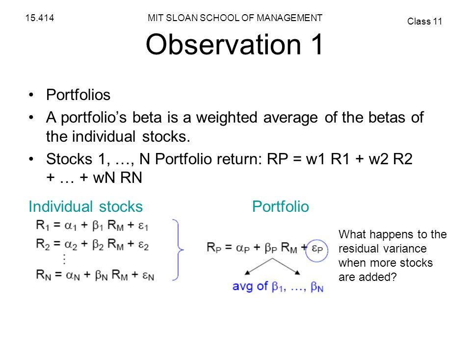 Observation 1 Portfolios