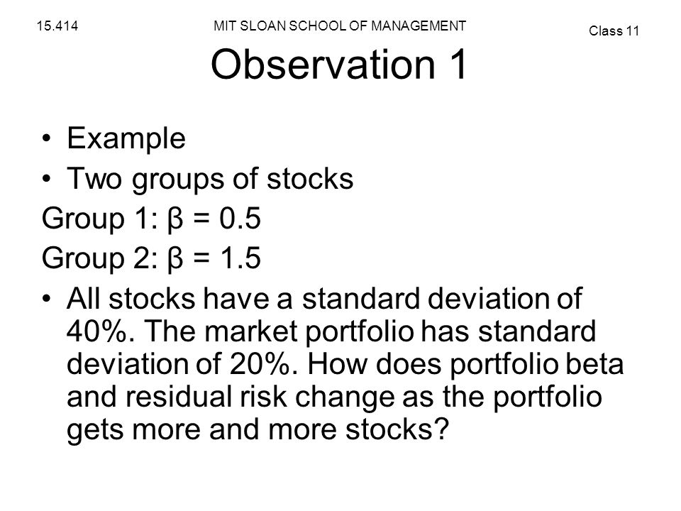 Observation 1 Example Two groups of stocks Group 1: β = 0.5