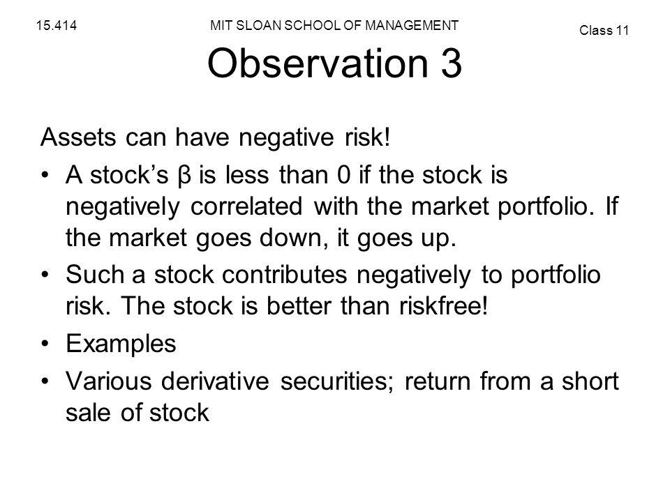 Observation 3 Assets can have negative risk!