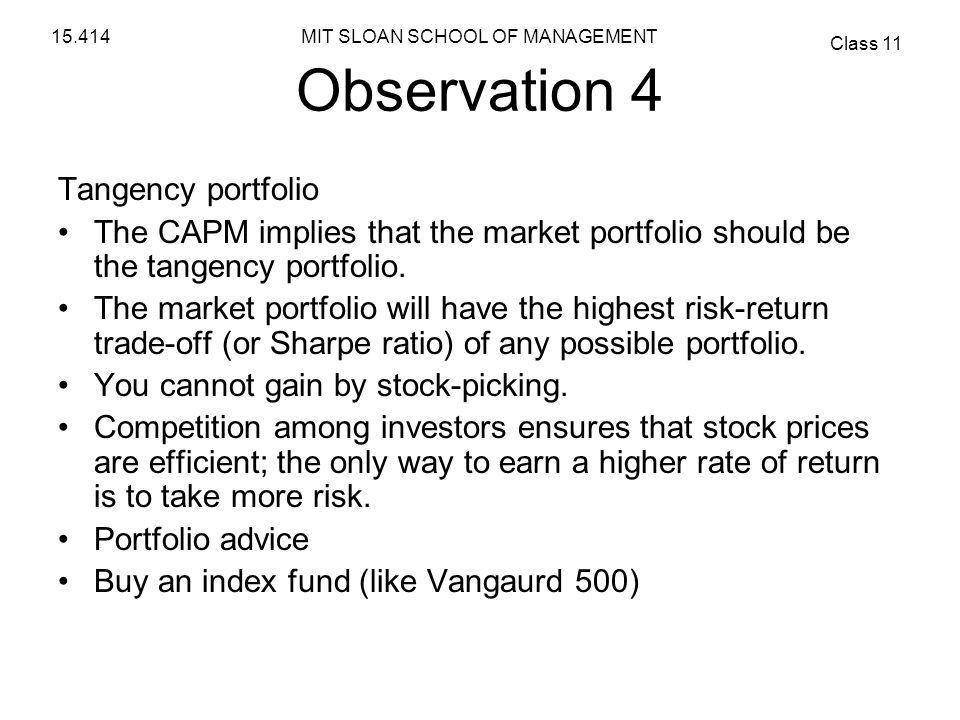 Observation 4 Tangency portfolio