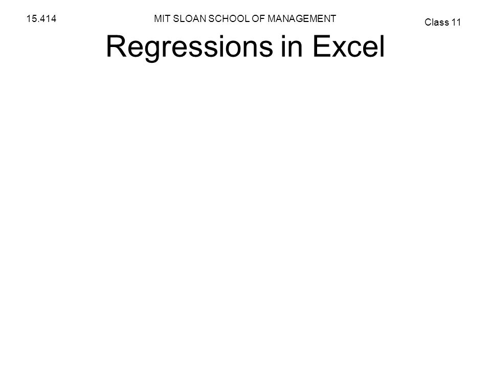 Regressions in Excel