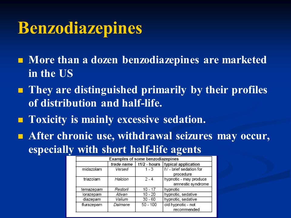 Benzodiazepines More than a dozen benzodiazepines are marketed in the US.