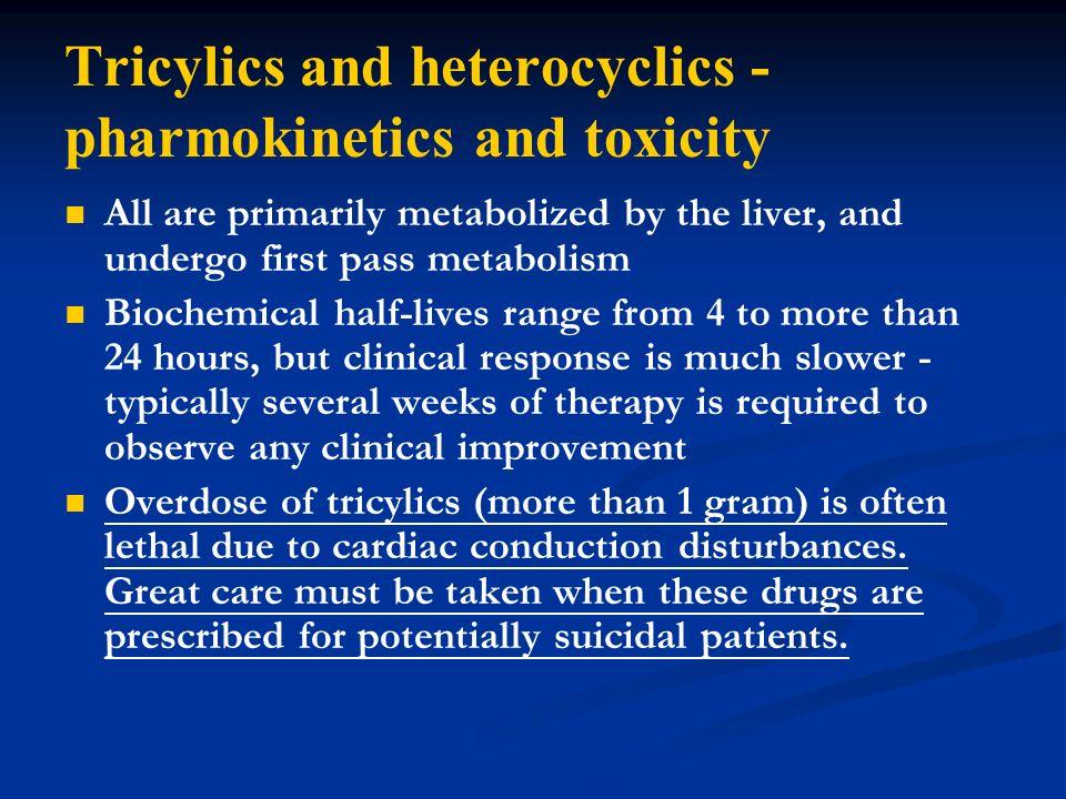 Tricylics and heterocyclics - pharmokinetics and toxicity