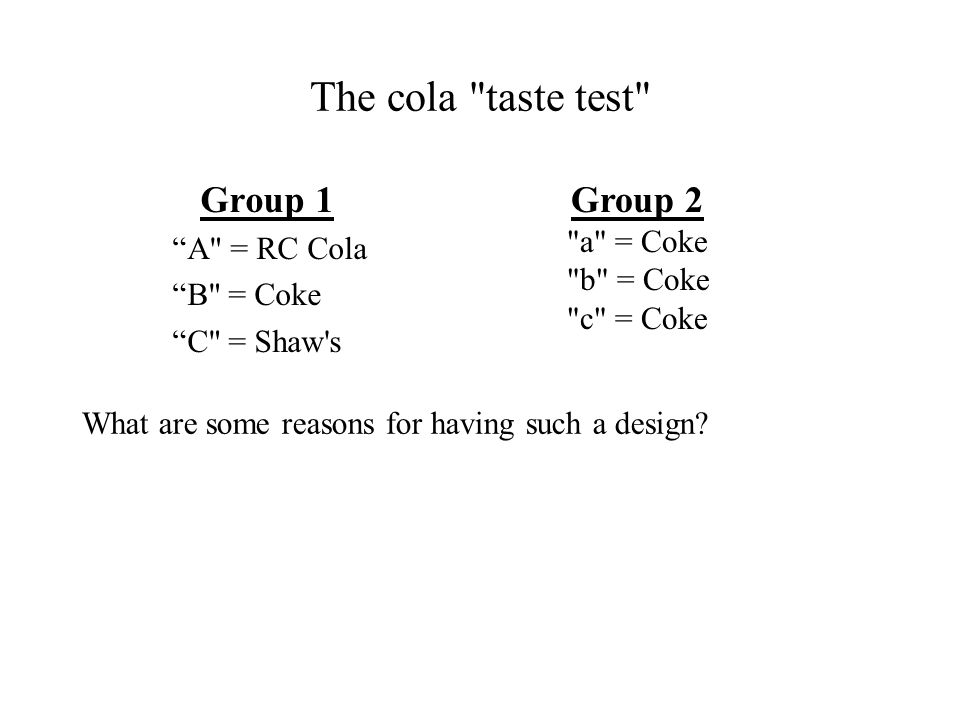 The cola taste test Group 1 Group 2 A = RC Cola B = Coke