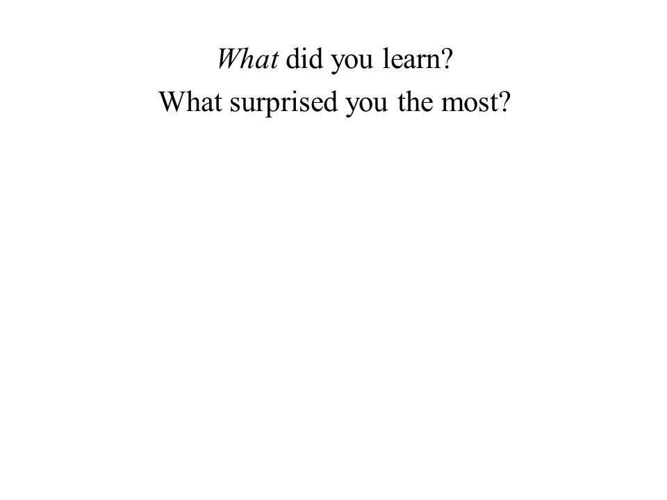 What did you learn What surprised you the most