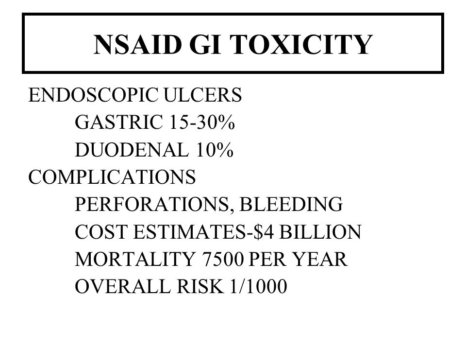NSAID GI TOXICITY ENDOSCOPIC ULCERS GASTRIC 15-30% DUODENAL 10%