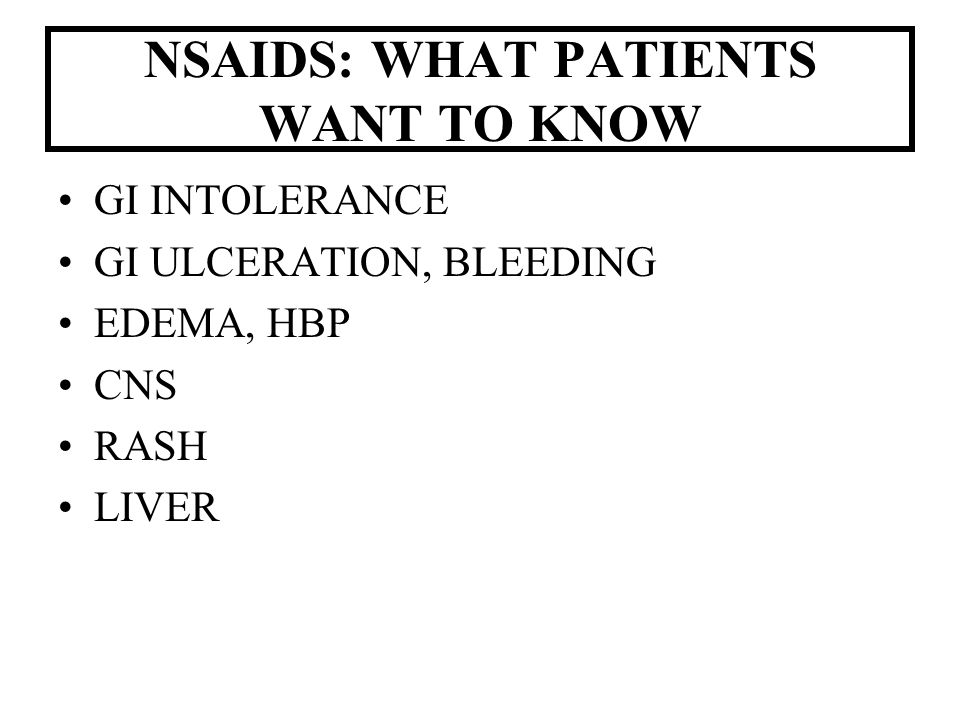 NSAIDS: WHAT PATIENTS WANT TO KNOW