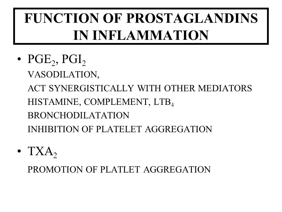 FUNCTION OF PROSTAGLANDINS IN INFLAMMATION