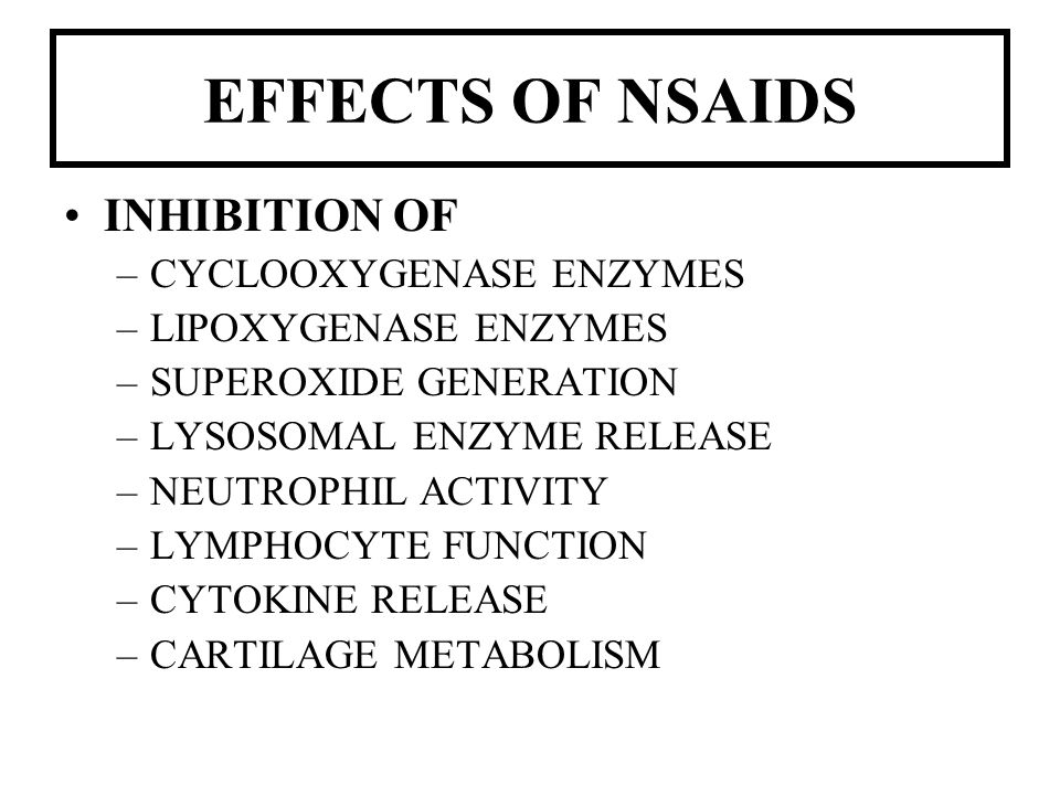 EFFECTS OF NSAIDS INHIBITION OF CYCLOOXYGENASE ENZYMES