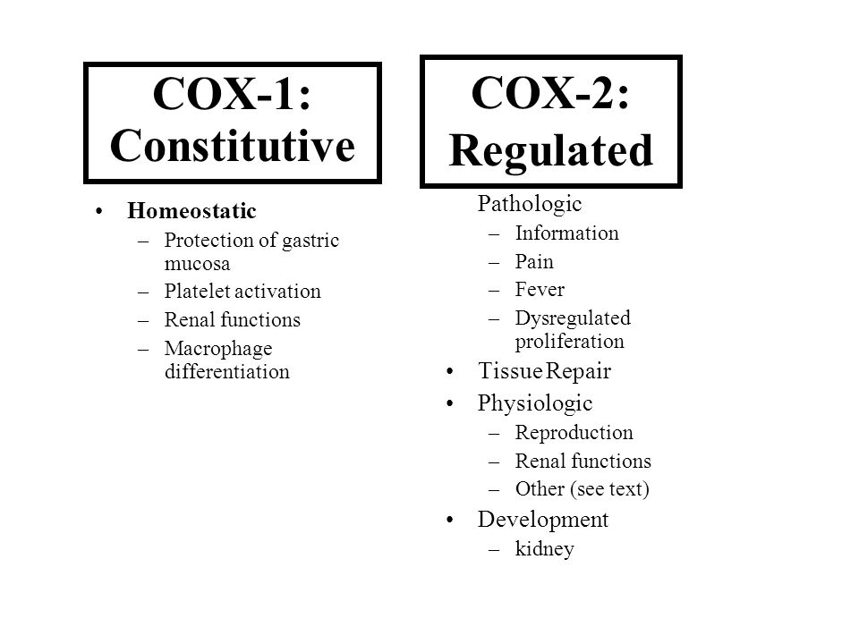 COX-2: Regulated COX-1: Constitutive