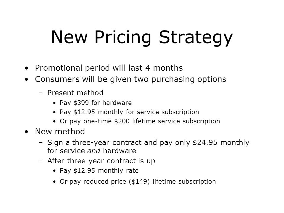 New Pricing Strategy Promotional period will last 4 months