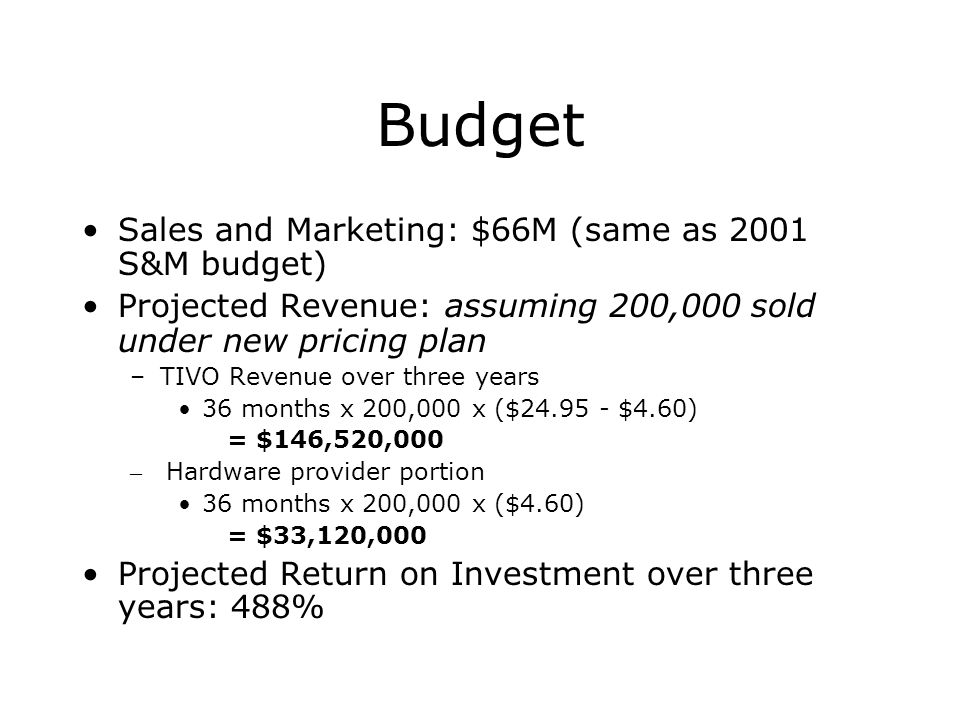 Budget Sales and Marketing: $66M (same as 2001 S&M budget)