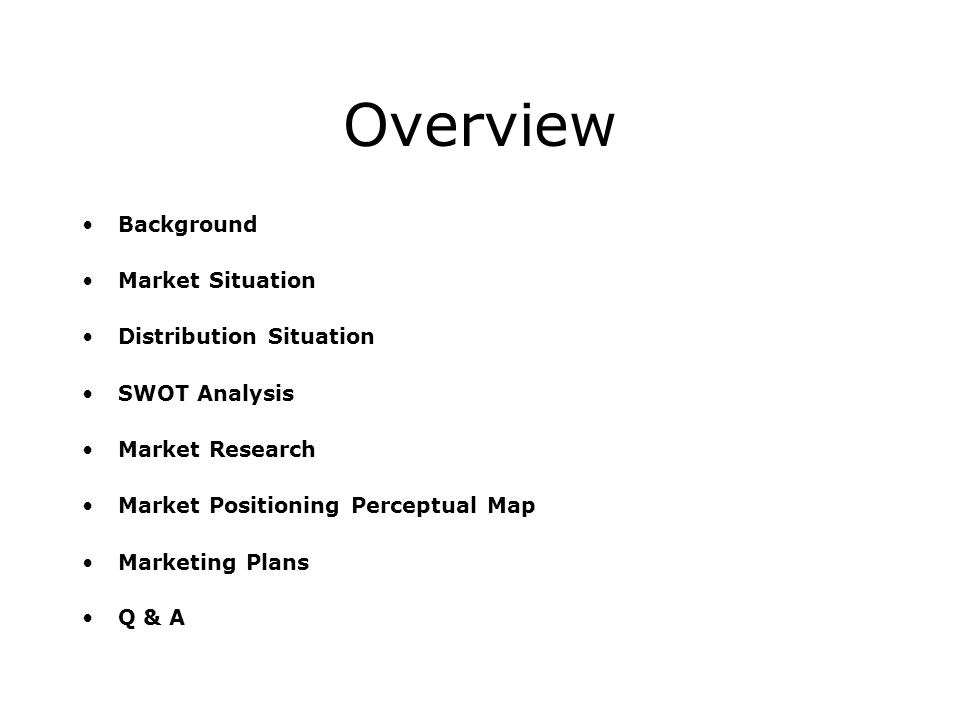 Overview Background Market Situation Distribution Situation