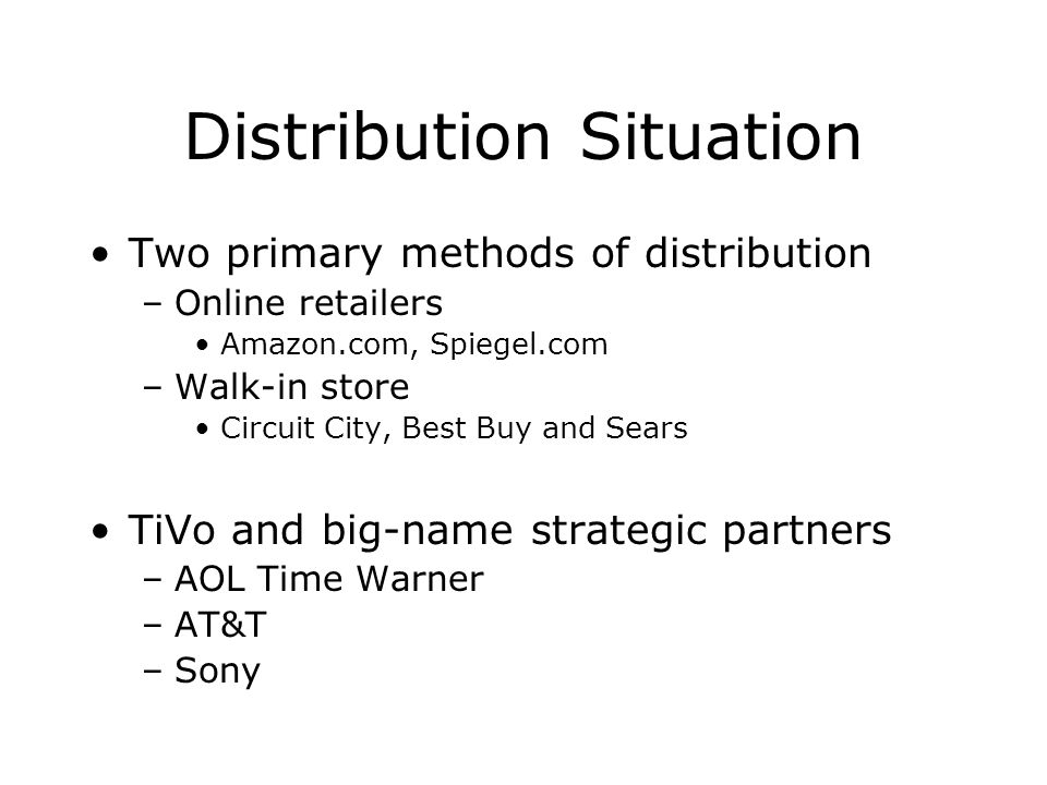 Distribution Situation