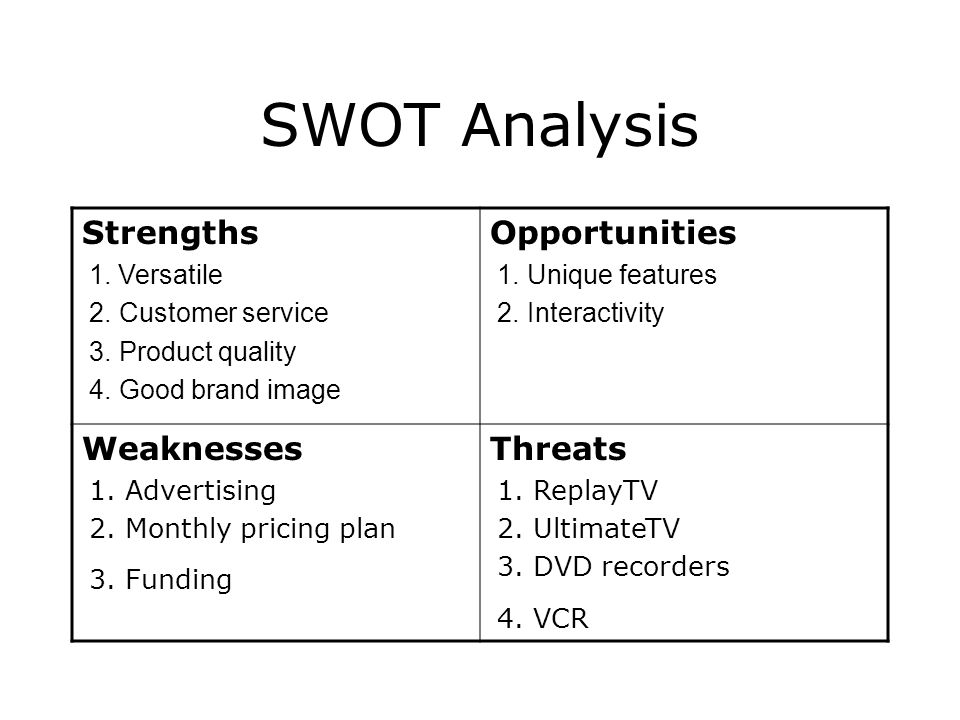 SWOT Analysis Strengths Opportunities Weaknesses Threats 1. Versatile