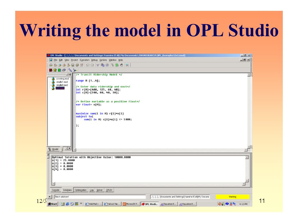 Writing the model in OPL Studio