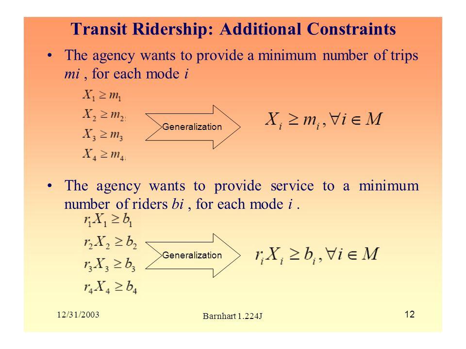 Transit Ridership: Additional Constraints