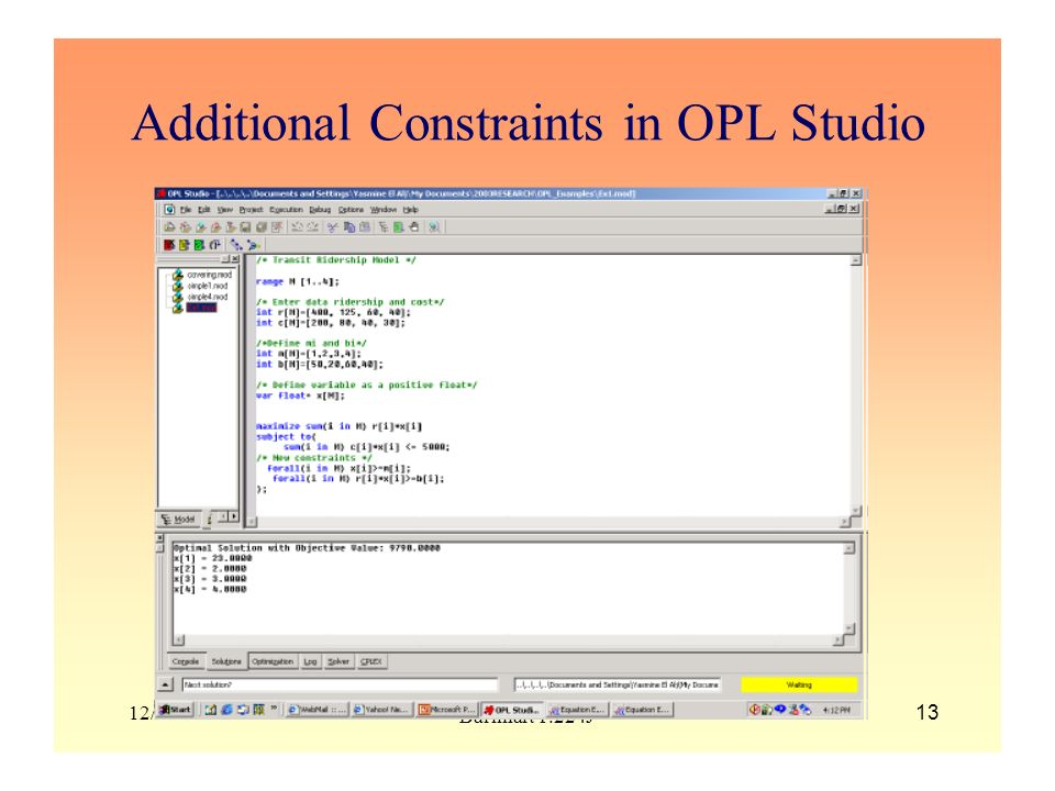 Additional Constraints in OPL Studio
