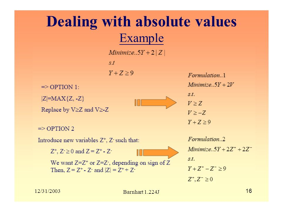 Dealing with absolute values Example