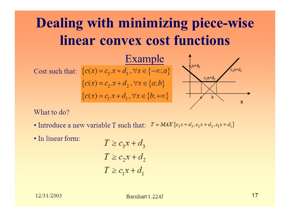 Dealing with minimizing piece-wise linear convex cost functions