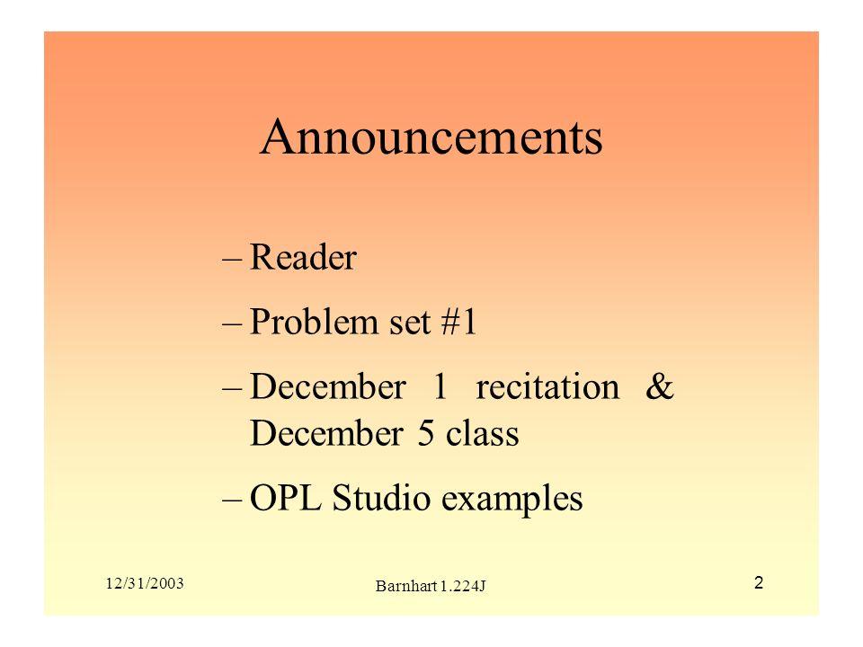Announcements Reader Problem set #1