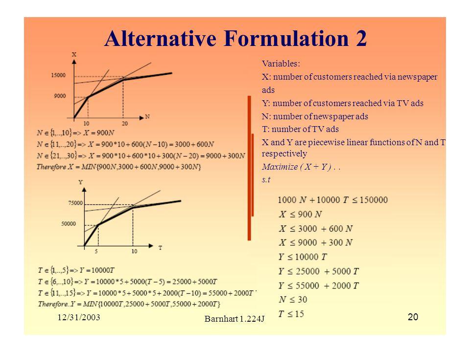 Alternative Formulation 2