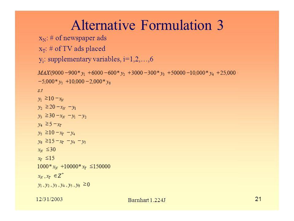 Alternative Formulation 3