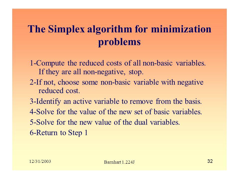 The Simplex algorithm for minimization problems