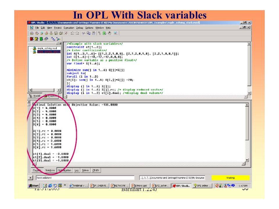 In OPL With Slack variables