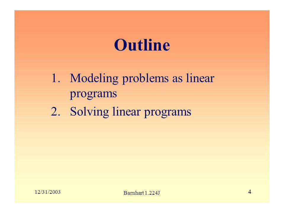 Outline Modeling problems as linear programs Solving linear programs