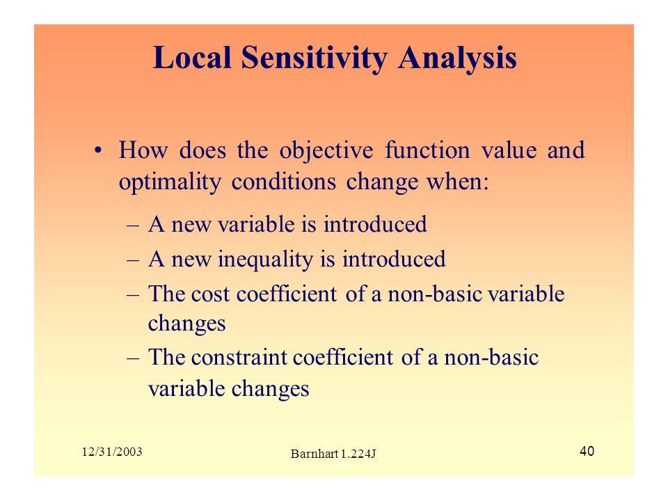 Local Sensitivity Analysis