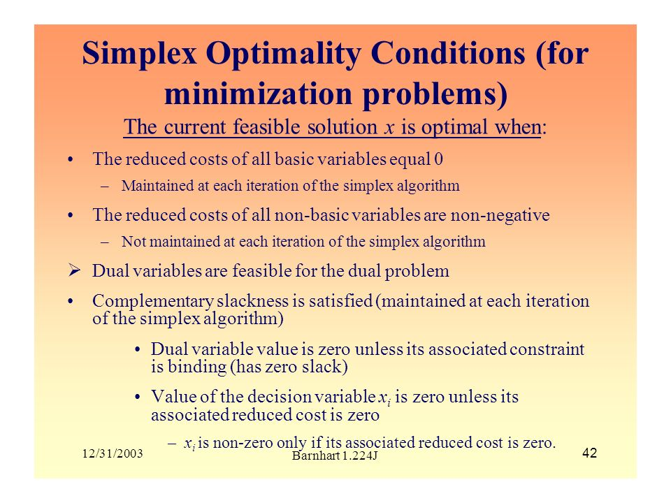 Simplex Optimality Conditions (for minimization problems)