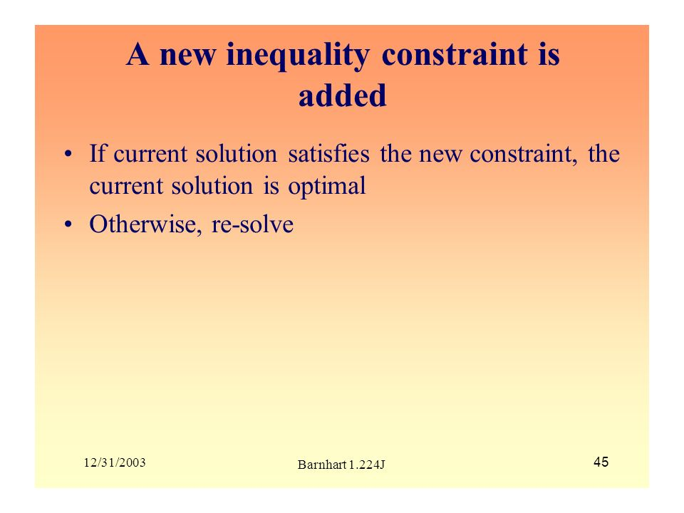 A new inequality constraint is added