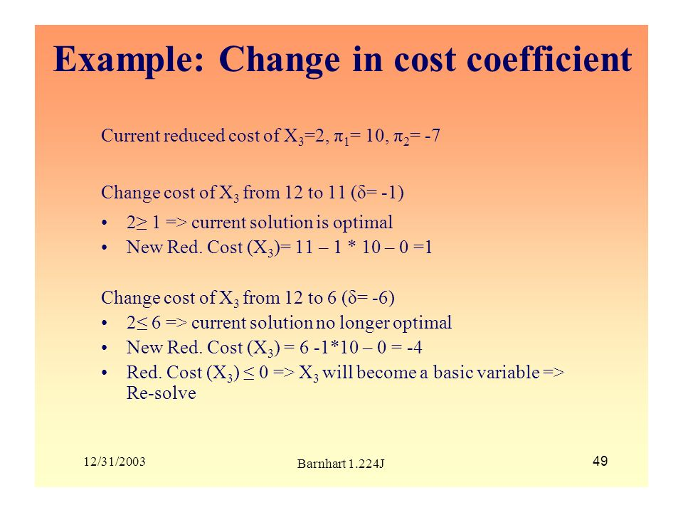 Example: Change in cost coefficient